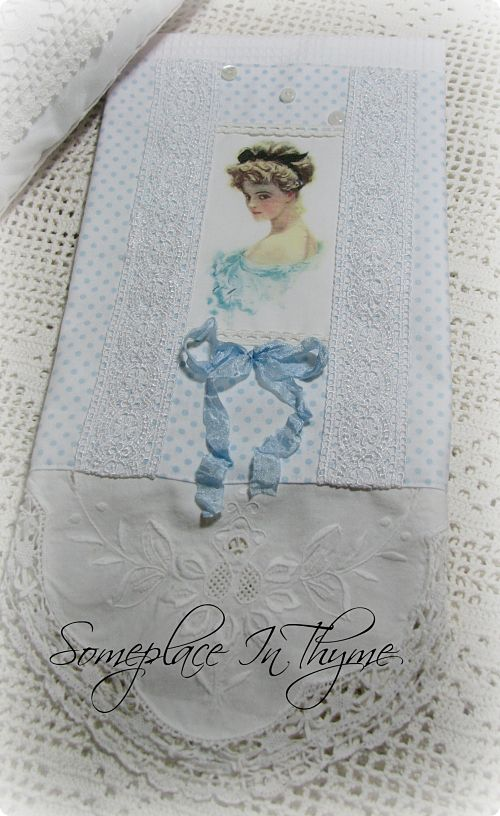 Lady In Blue Guest Towel-guest towel, blue, cotton, lace, vintage buttons, bath, white, battenburg lace, crochet work, cottage, shabby, ribbon