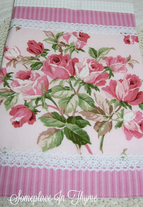 Pink Bouquet Cottage Guest Towel-bath towel, towel, cotton fabric, handmade gift, handmade, roses, cottage decor, bath decor, shabby decor, lace