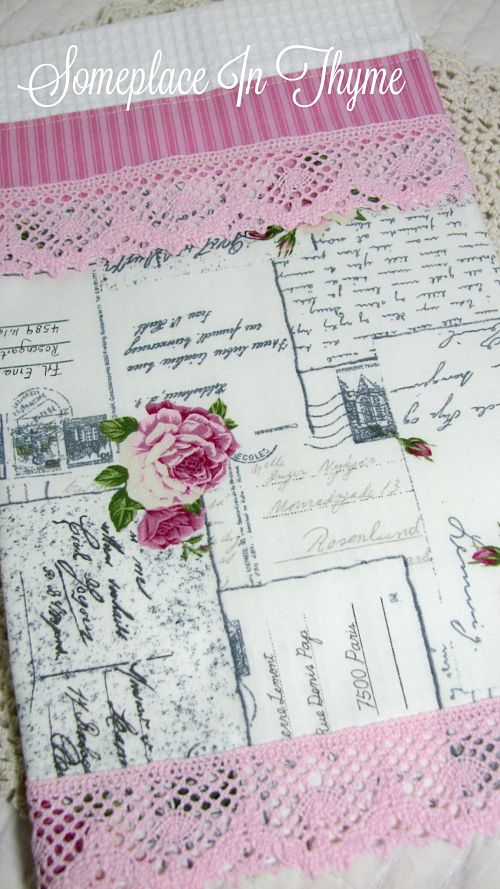 Pink Roses Postcard Guest Towel-pink roses, bath decor, kitchen decor, home decor, home decoration, lace