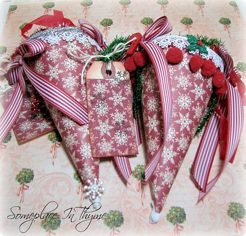 Christmas Tussie Mussie Set Of Two-tussie mussie, paper, gift, holiday decor