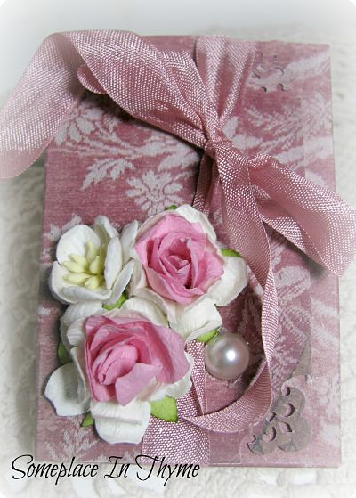 Pink Roses Cards In A Box-notecards,paper,notes,roses,handmade,ribbon,shabby,cottage,pink,envelopes,cards,box,decor,decorated,gift,pearl