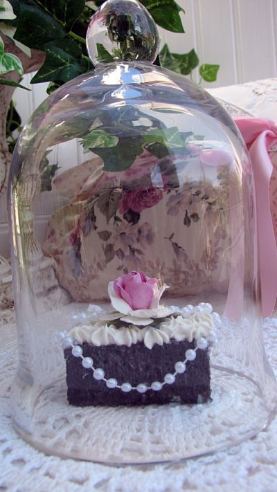 Petite Four With Cloche-petitefour,cloche,glass,chocolate,cottage,shabby,pearls,rose,handmade,paper,pink,
