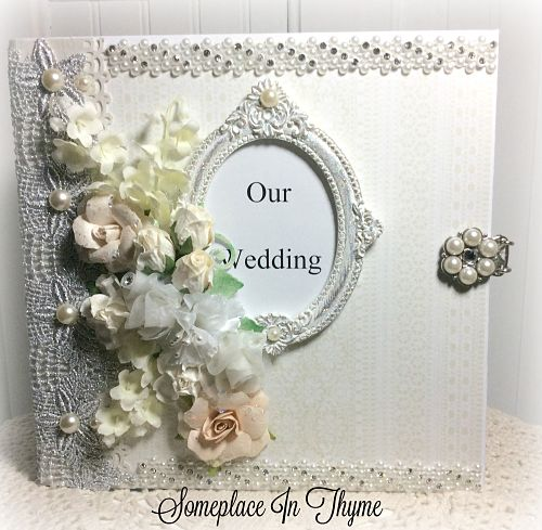 The Wedding Book-wedding book, handmade book, handmade journal, wedding gift, lace, pearls, embellishments, flowers, silver lace, tags, pockets, acid free paper, shabby wedding, cottage decor, wedding gift, shower gift, memory book, wedding diary,