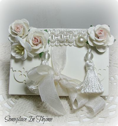 White Tassel Handmade Box With Cards-handmade,box,paper,cards,envelopes,roses,tassels,trim,ribbon,shabby,gift,wedding,party,bridal,