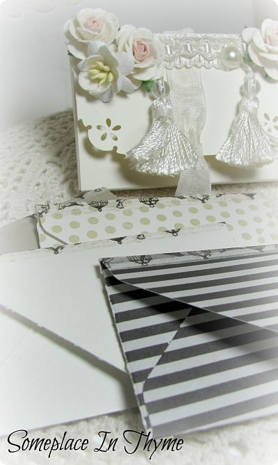 White Tassel Handmade Box With Cards-handmade,box,paper,cards,envelopes,roses,tassels,trim,ribbon,shabby,gift,wedding,party,bridal,