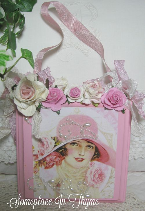 Pink Hat Lady Wooden Plaque-wood sign, wood plaque, painted sign, pink roses, pearls, home decor, shabby decor, handmade decor