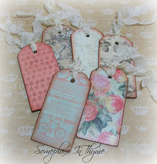 Set Of Wooden Tags-tags, gift tags, wooden tags, cottage tags, handmade, gift, roses, wood, shabby, chalkboard, paint, ribbon