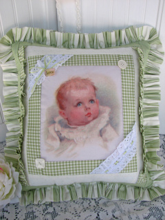 Hanger Pillow With Baby Vintage Image-pillow,baby,hanger,cottage,romantic,bed,sofa,chair,ruffles,green,vintage,image,eyelet,lace,buttons,homedecor,decoration
