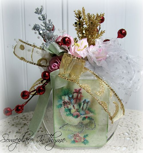 Sleigh Altered Holiday Bottle-glass bottle, handmade flowers, pink roses, Holiday gift, handmade gift, cottage decor, decoration, gold, silver, red balls, ribbon, sleigh, Christmas decoration, shabby decor, netting, pearls
