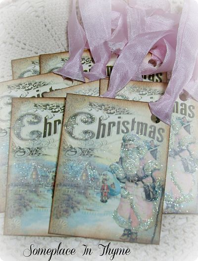 Vintage Santa Christmas-Santa gift tags, Christmas tags, glitter, paper, holiday, handmade, ribbon
