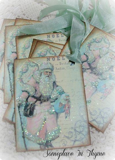 Santa Claus Gift Tags-Gift tags, holiday gift tags, Christmas tags, holiday, santa, glitter, ribbon