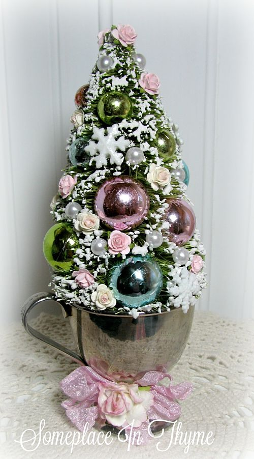 Mini Christmas Tree In Vintage Cup-Christmas tree, holiday decor, silver plate cup, pink roses, cottage decor, shabby decor, home decoration, Christmas decoration,