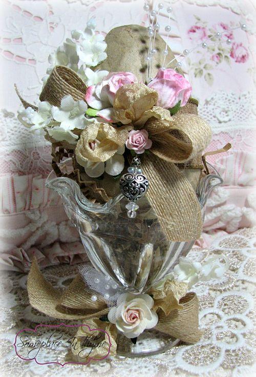 Easter Egg Sundae-Easter egg, paper, roses, sundae glass, charms, bead work, silks, ribbons, pearls, shabby decor, decoration, cottage decor