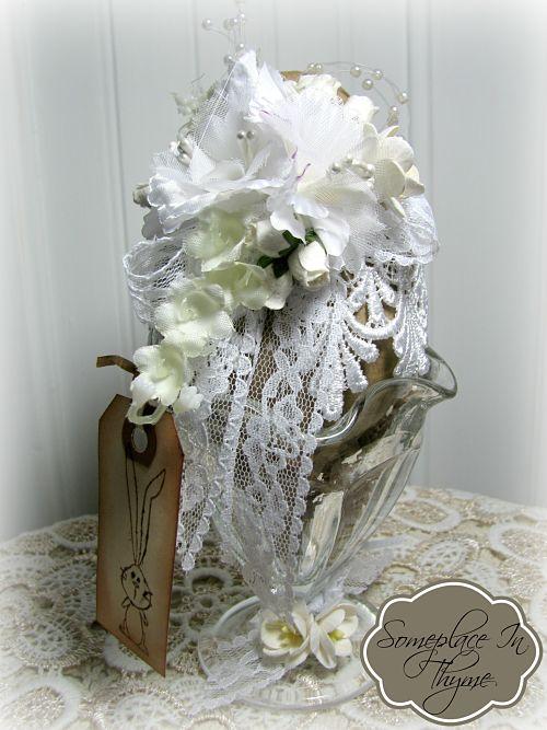 White Lace Easter Egg Sundae-Easter egg, Easter decor, Easter decoration, egg, roses, gift, handmade gift