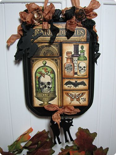 Halloween Plaque-Halloween, Halloween decor, home decor, decoration, fall, ribbons, cats, metal, charms, witch, roses, cottage, handmade, gift, shabby decor