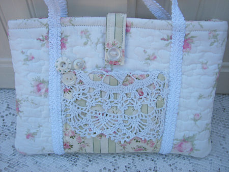 Kindle Tote With Pink Roses-tote,quilted,roses,pink,vintage,doily,button,cottage,kindle,shabby,handmade,gift