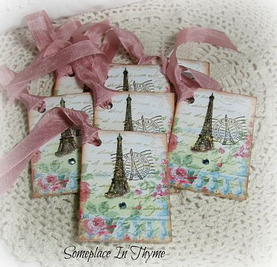 Paris And Roses Tags-tags,paper,gift,handmade,paris,eifel,roses,rhinestone,cottage,gold,glitter,shabby