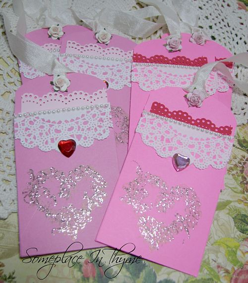Valentine Tags With Pockets-Valentine Tags, pink tags, roses, pearls, hearts, gifts, handmade tags, paper tags,