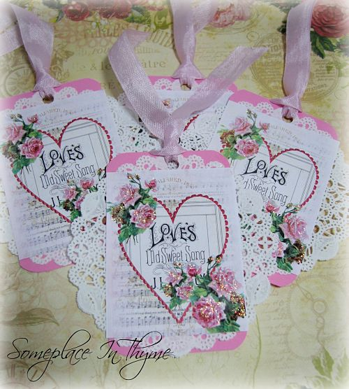 Valentine Doily Tags-Valentine tags, free shipping, pink, doily, paper, gift, handmade tags, ribbon, roses