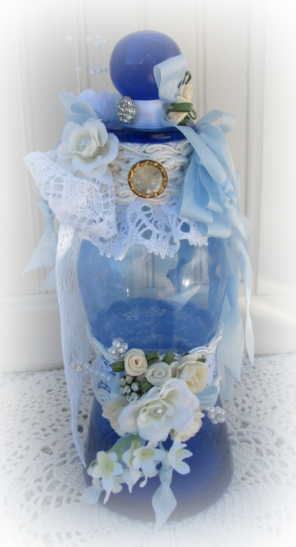 Beautiful Romantic Vanity Bottle-bottle,vintage,glass,blue,ribbons,rhinestone,pearls,lace,handmade,homedecor,shabby,romantic,satin,vanity,bath,dresser,cottage,white,new,button