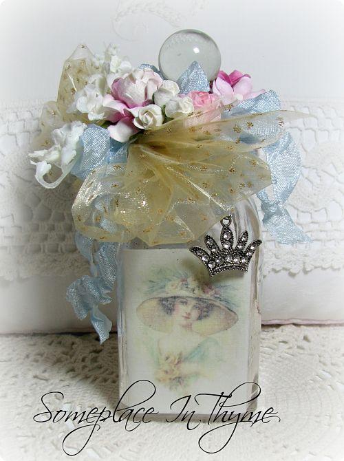 Altered Vanity Bottle With Crown-vanity bottle, roses, cottage decor, shabby decor, flowers, handmade, glass bottle, ribbons, charms, crown, rhinestones, netting, gold