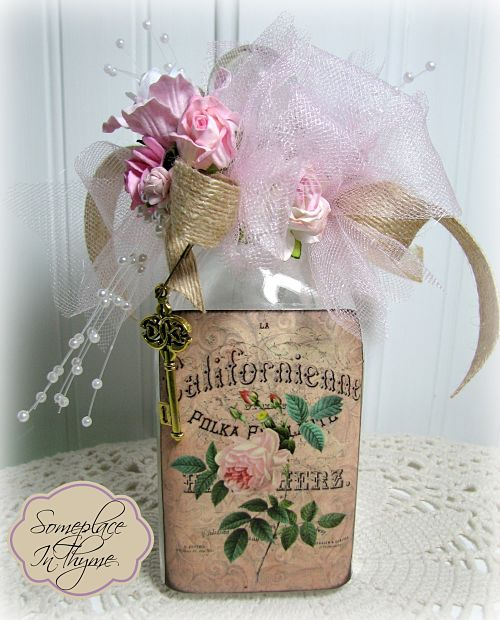 Gorgeous Altered Bottle With Pink Roses-glass bottle, handmade gift, pink roses, pearls, cottage decor, ribbons, roses, shabby decor, charm, key, glass, bath, bed, decoration, silks