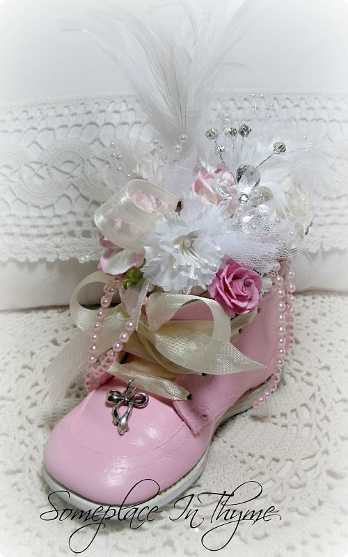 Baby Shoe Pincushion Pink with Roses-baby shoe, pink baby shoe, roses, pink roses, handmade gift, shabby, cottage, pearls, feathers, pearls, ribbons, pincushion, charm