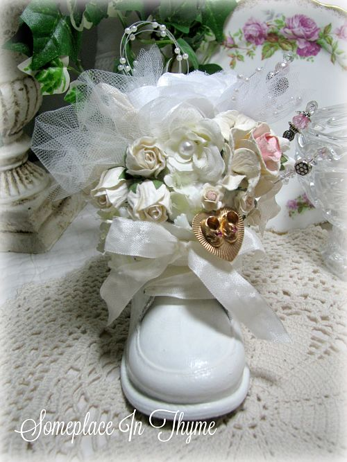 White Baby Shoe Pincushion-baby shoe, pincushion, handmade gift, pink roses, rose decals, ribbons, silks, roses, home decor, sewing room, beads, vintage shoe, charm, baby charm