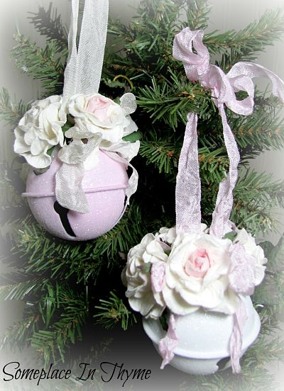 Set Of Large Jingle Bells-bells,Christmas,decoration,ornament,gift,metal,pink,white,cottage,shabby,glitter,holiday,chic,roses,paper
