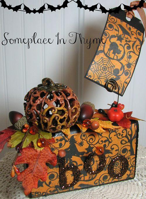 Boo Halloween Photo Block-Halloween decor, Halloween decoration, holiday decor, boo, paper, photo, pumpkin decor, beads, wooden block, painted wood