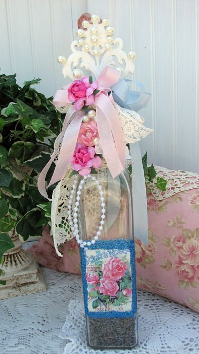 Yummy Romantic Bottle-bottle,glass,roses,cottage,glitter,paper,ribbon,shabby,bath,lavender,buds,dried,chic,card,handmade,gift,pearls,painted,white,pink,blue,cork,
