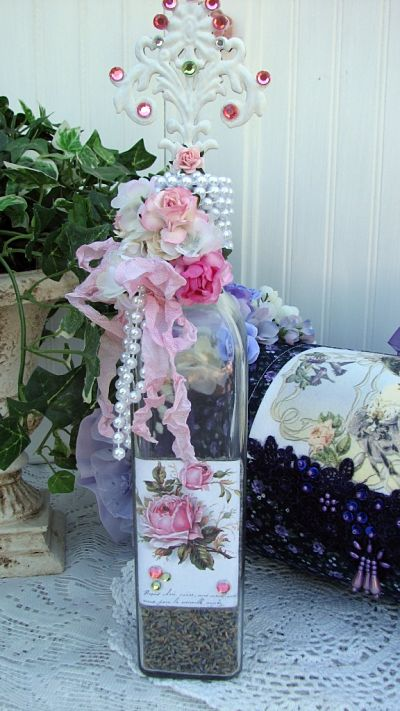 Romance Your Bath Vanity Bottle-vanity,bottle,glass,paper,roses,pearls,chic,cottage,romantic,gems,ribbons,jewels,cork,shabby,decoration,someplaceinthyme,thyme,in,gift,scent,buds,lavender,dried