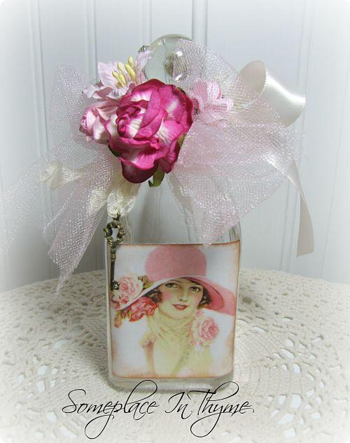 Pink Hat Vanity Bottle-cottage home, cottage decor, pink, roses, ribbons, handmade, shabby decor, gift