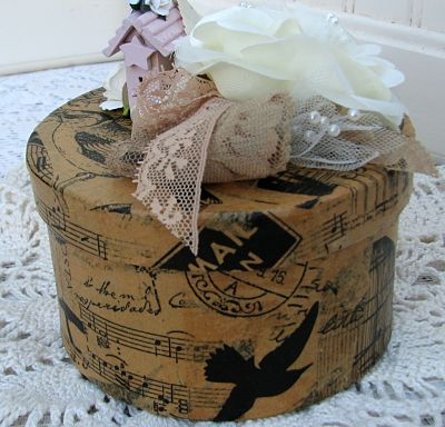 Bird Theme Cottage Box With Lace-box,bird,paper,roses,lace,ribbons,house,tissue,cottage,shabby,chic,handmade,decoration,nest,pearls,eggs,homedecor,silk,wood,roses