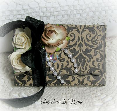 Black and Brown Box with Tags and Envelopes-paper,roses,ribbon,handmade,gift,pearls,bling,cottage,shabby,chic,hostess,teachers,holiday