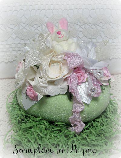 Green Bunny Easter Egg-bunny,Easter,roses,paper,handmade,ribbon,pearls,cottage,gift,silks,netting