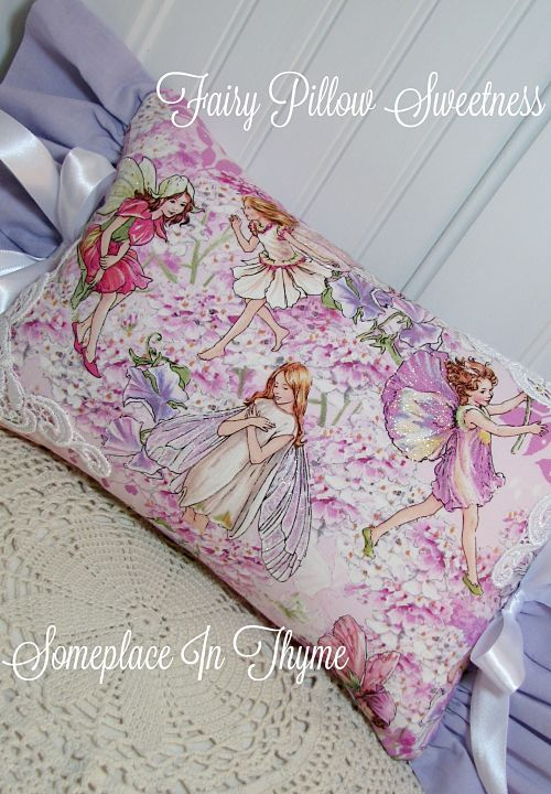 Fairy Pillow-pillow, fairies, glitter, cottage decor, home decor, ribbon, girls decor, baby decor, shabby home decor, cotton fabric, decoration, pillow decor,