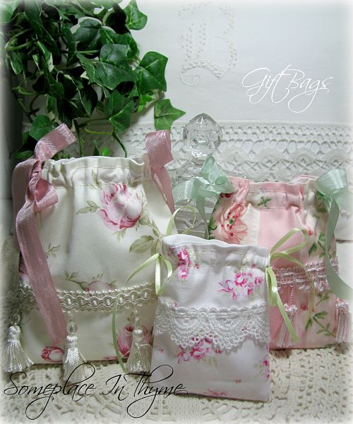 Gift/Jewelry Bags Fringe-gift bags, pink roses, ribbon, lace, fringe