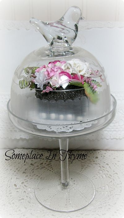 Chocolate Cake in Glass Pedestal-cake,glass,pedestal,roses,handmade,paper,silk,decoration,gift,home,decor,shabby,chic,dessert,pink,chocolate,