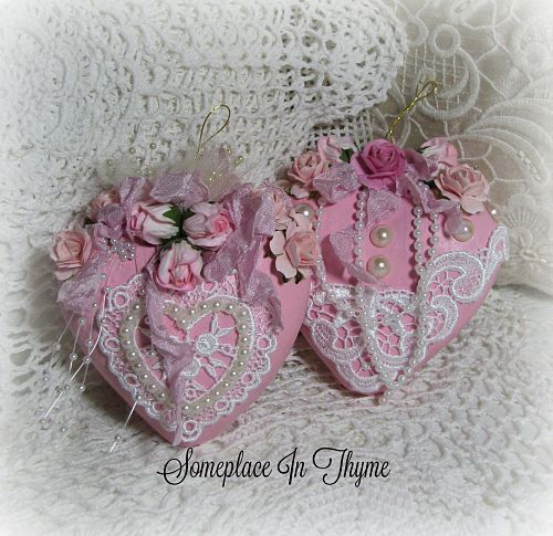 Pair Of Hearts-hearts, pink hearts, decorated hearts, lace, ribbons, pearls, handmade roses,