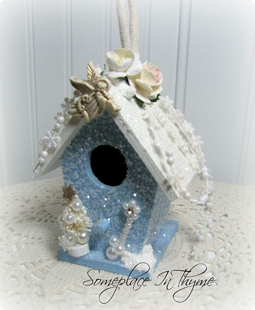 Wooden House Ornament-Christmas decor, Christmas ornament, decoration, glitter, roses, tree, star, holiday decoration, wooden house, paint, blue, white