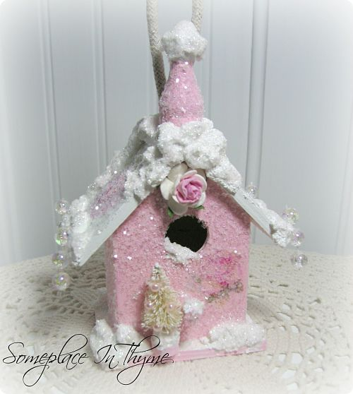 Pink Wooden Church With Roses-pink church, ornament, holiday decor, pink, roses, glitter, handmade, paint, snow, paper, glitter, gift,
