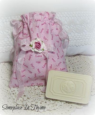 Love In A Soap Pocket Sachet-bag,sachet,love,rose,pink,cotton,ribbon,cottage,shabby,soap,gift,handmade,vintage,crochet