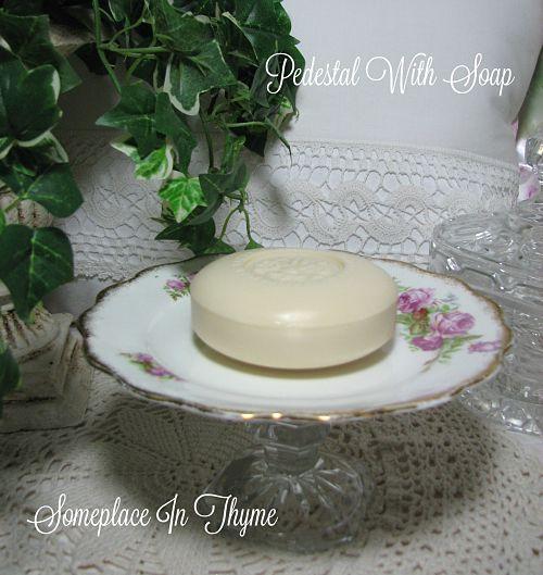 Vintage China Plate Pedestal Soap Dish-soap dish, pink roses, vintage china, plate, glass, candlestick, home decor, home decoration