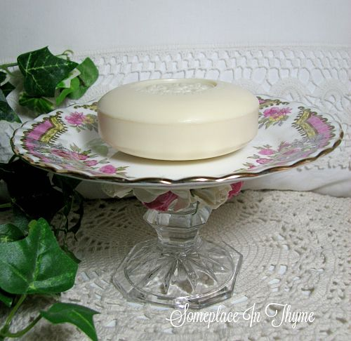Pedestal China Plate With Soap And Pink Roses-china plate, saucer, pink roses, home decor, home decoration, cottage home, shabby home decor, handmade soap