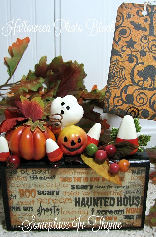 Halloween Photo Block-painted wood, wooden sign, handmade sign, Halloween decor, home decor, ghosts, goblins, holiday decor, handmade gift, tags, pumpkins, leaves, shabby decor, cottage decor