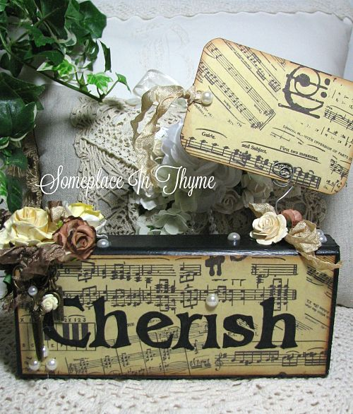 Photo/Memo Block Cherish-photo stand, roses, wooden sign, wooden stand, shabby decor, cottage decoration, home decor, ribbons, charms