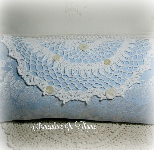Pillow In Blue With Crochet Work Vintage Buttons-pillow, home decor, pillow decor, decoration, blue pillow, handmade crochet work, vintage buttons, vintage lace, vintage handwork, cottage decor, shabby decor, handmade decor, bedroom, bed decor, bed pillow, sofa pillow,