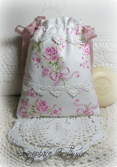 Sachet Bag With Pink Roses And Ribbons-sachet bag, pink roses, roses, cottage, bag, ribbon, vintage lace, crochet work,
