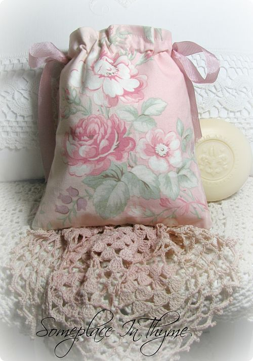 Pretty Sachet Bag With Handmade Soap-gift, Mother's Day, decoration, soap, handmade soap, sachet bag, roses, pink roses, cottage, vintage lace